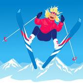 Young woman ski jumping — Stock Vector