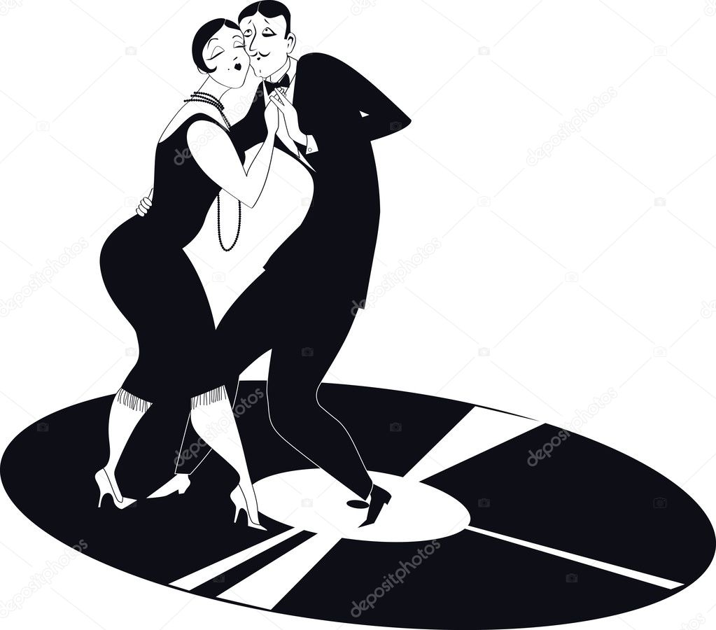 Coppia ballare il tango su un disco in vinile — vettoriali