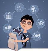 Little school boy — Stock Vector