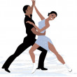 Couple ice dancing — Stock Vector #50956023