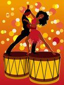 Latin couple dancing on bongos — Stock Vector