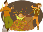 Family raking autumn leaves — Stock Vector