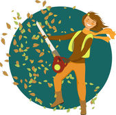 Woman with a leaf blower — Stock Vector