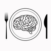 Brain on the plate with fork and knife — Stock Vector