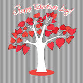 Love tree having heart shapes in red  color — Vecteur