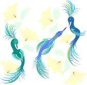 Fantastic birdies in colors. — Stock Vector