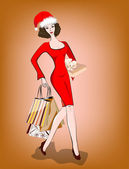 La femme avec les courses. — Vecteur