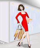 A mulher com as compras. — Vetorial Stock