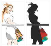 Shopping girl — Stok Vektör