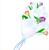 The composition of inflatable balloons and flowers. — Stock Vector