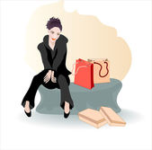 The girl with the shopping — Stock Vector