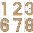 Stock Vector: Numbers Font Technical Drawing