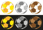 Dimensional Football Gold,Silver And Brown Medals — Stock Vector