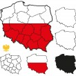 Poland Borders, Province Borders - Layers ON,OFF — Stock Vector