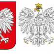 Poland Emblem - White Eagle,Shield And Silhouette — Stock Vector #19662101