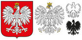 Poland Emblem - White Eagle,Shield And Silhouette — Stock Vector