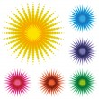 Set Of Abstract Dot Sun — Stock Vector