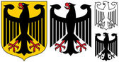German Emblem - Black Eagle,Shield And Silhouette — Stock Vector
