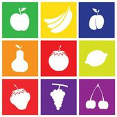 Fruits Flat Design Square Icons — Stock Vector