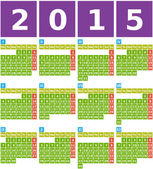 Big 2015 Calendar in Flat Design with Simple Square Icons — Stock Vector