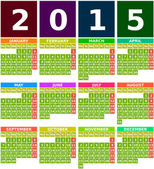Colored 2015 Calendar in Flat Design with Simple Square Icons — Stock Vector