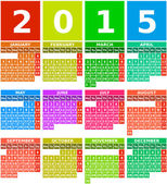 Rainbow 2015 Calendar in Flat Design with Simple Square Icons — Stock Vector
