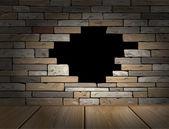 Hole in brick wall — Stock Vector