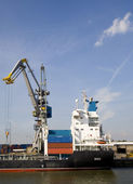 Container ship at the Port of Rotterdam — Stock Photo