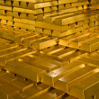 Stapel von gold Goldbarren in indonesischen bank — Stockfoto