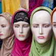 Display with a headscarf on a market in Surabaya — Stockfoto