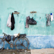 Hanging clothes in a slum area in Jakarta, Indonesia — Stock Photo #19286889