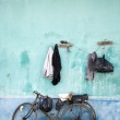 Hanging clothes in a slum area in Jakarta, Indonesia — Stock Photo