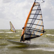 Windsurfer in action on the IJsselmeer in Makkum, the Netherlands — Stock Photo