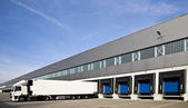 Loading bay with numbers for loading and unloading trucks — Stock Photo