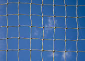 Soccer goal net with a sky background — Stock Photo