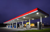 Empty gas station at night — Stock Photo
