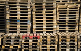Stacked pile of of wooden Euro pallets — Stock Photo