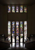 Antique stairway with stained glass window in bank Mandiri — Foto Stock