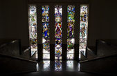 Antique stairway with stained glass window in bank Mandiri, Jakarta, Indonesia — Foto Stock
