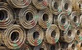 Steel mesh construction material in the harbor of Jakarta — Stock Photo