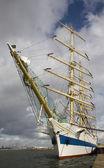 Russian tall ship Mir in IJmuiden, the Netherlands — Stock Photo