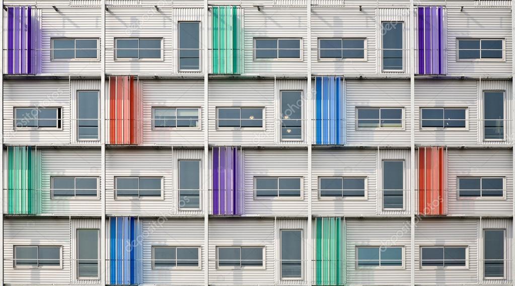 Multi colored facade of a modern building stock photo for Facade immeuble moderne