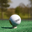 Close up of a golf ball on the golf course — Stock Photo