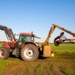 Tractor with water pump in a Dutch polder - Foto Stock