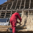 Workman thatching a new roof - Foto Stock