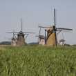 Dutch windmills in Kinderdijk, Holland - Stock Photo