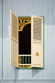 Traditional Indonesian window with open shutter — Stock Photo