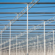 Steel frame of a  green house under construction — Stock Photo