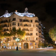 Casa Mila by night, designed by Antoni Gaudi in Barcelona, Spain — Stock Photo #21135411
