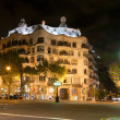 Casa Mila by night, designed by Antoni Gaudi in Barcelona, Spain — Stock Photo